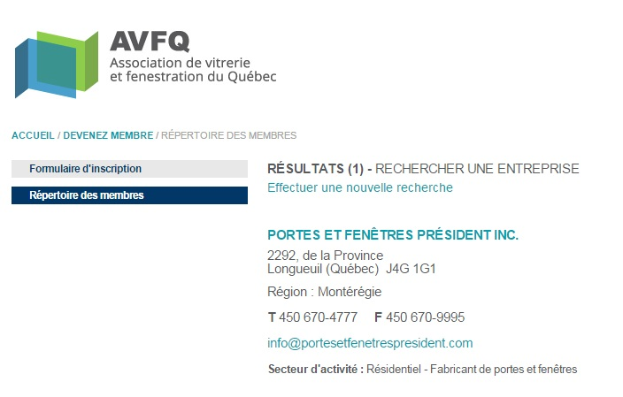 Entreprises certifi es net certification president porte for Entreprise porte et fenetre